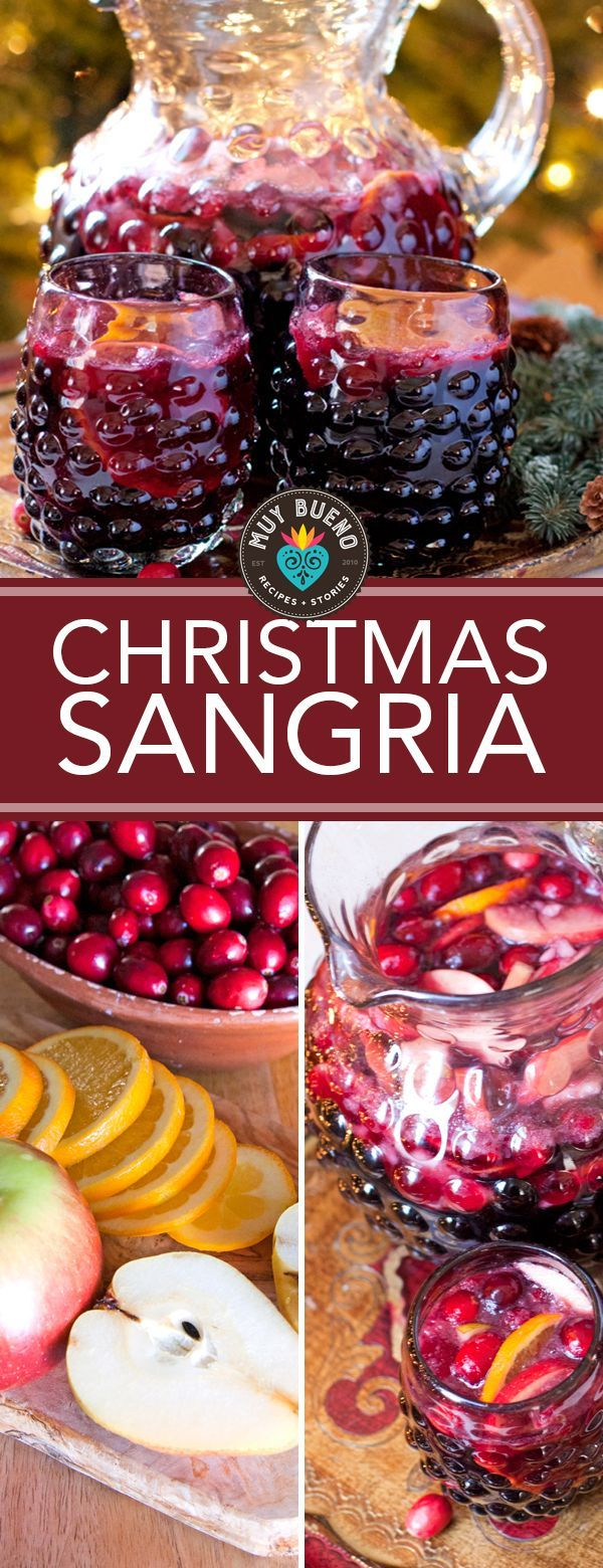 Christmas Sangria    This drink is cheerful, economical, and delicious. Sangria is one of the easiest cocktails for a crowd and this one is budget friendly too. This sangria is simple to make and fizzy with your choice of club soda or tonic water and sweet from the natural fruit juices that are muddled and swim in the wine overnight. This recipe is by Muy Bueno Cookbook.