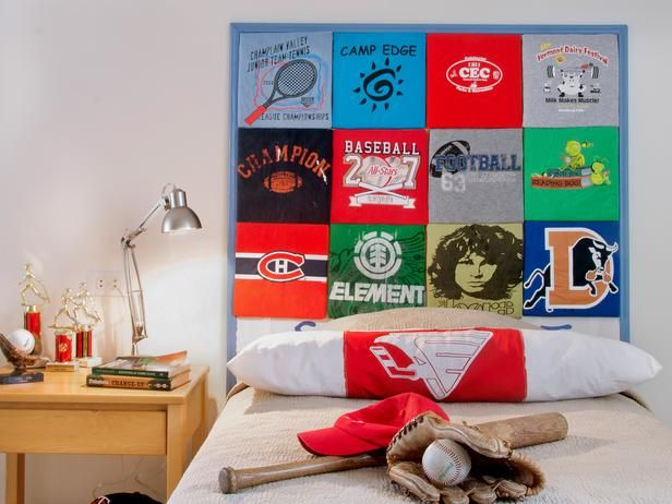 T-Shirt Collection  Kids often have a hard time parting with their favorite T-shirts even after they've outgrown them. Use old T-shirts, sport jerseys or old blankets to create a collage of color over your child's bed.  You Might Also Like...  How to Make a Headboard Out of Old T-Shirts
