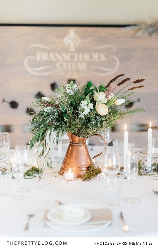 Beautiful natural neutral table decor   The Franschhoek Cellars   Styling by The Style Concept   Florals by My Lady Weddings Photograph by Christine Meintjes