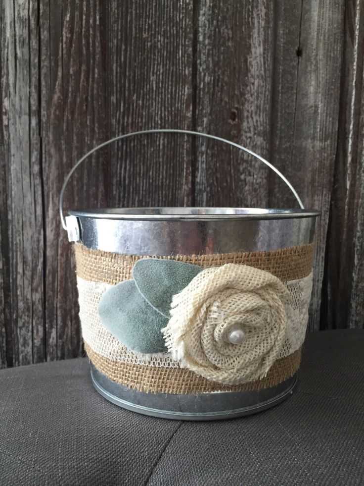 TIN BUCKET Flower Girl Basket, Rustic Burlap Galvanized Pail, Metal Bucket, Shabby Cottage Chic Woodland Wedding Favor Holder, Garden Pot by FarmHouseFare on Etsy https://www.etsy.com/listing/185726791/tin-bucket-flower-girl-basket-rustic