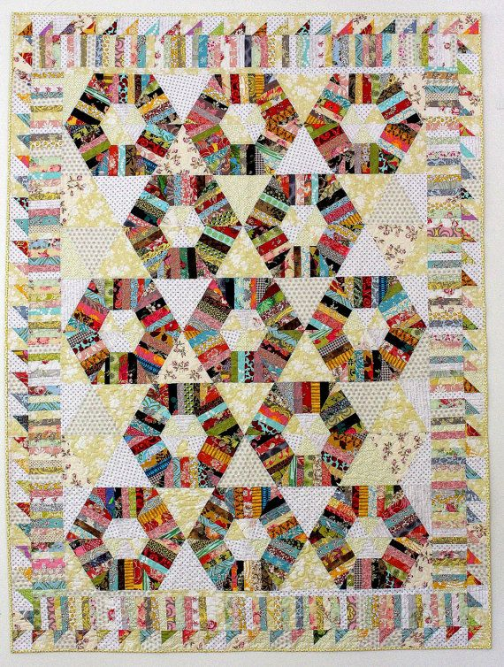 Honeycomb Quilt Pattern String quilt pattern by KarenGriskaQuilts, $5 on Etsy, string quilt.