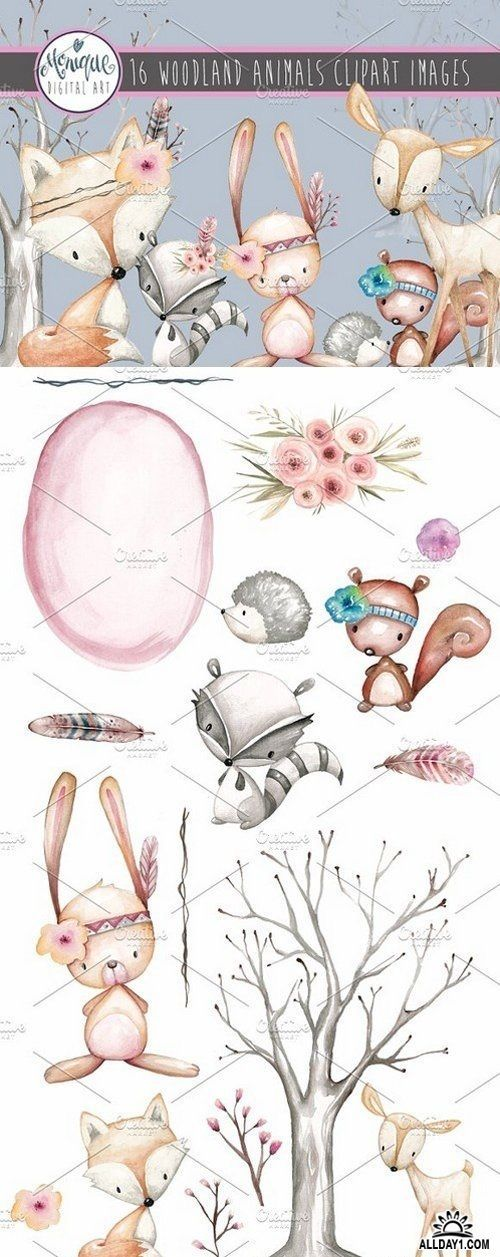 Woodland Animals Clipart Watercolor 1634984