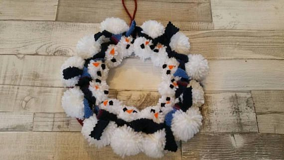 Check out this item in my Etsy shop https://www.etsy.com/uk/listing/544958620/christmas-pompom-wreath-snowman-wreath