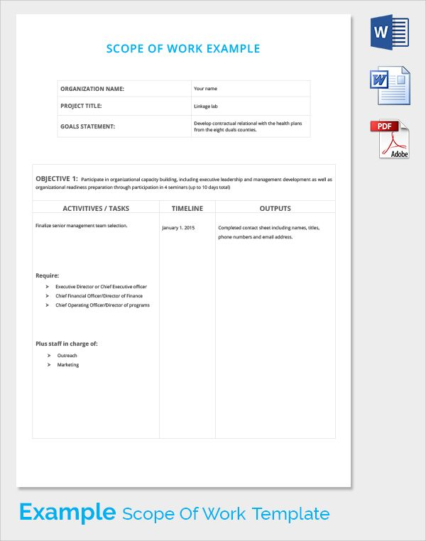 Scope Of Work Templates With Images Word Template Invitation
