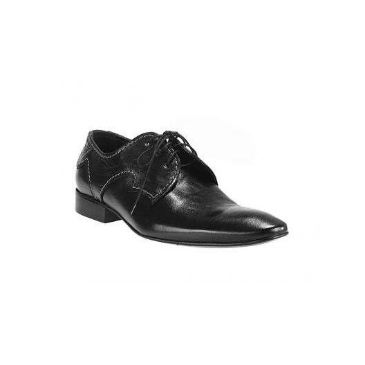 Šnúrovacie pánske topánky vyrobené z pravej hovädzej kože čiernej farby - fashionday.eu