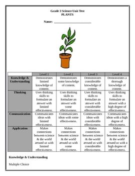 This is a 6 page grade 3 test on plants based on the Ontario Curriculum. The test is divided into the 4 areas of the science curriculum and includ...