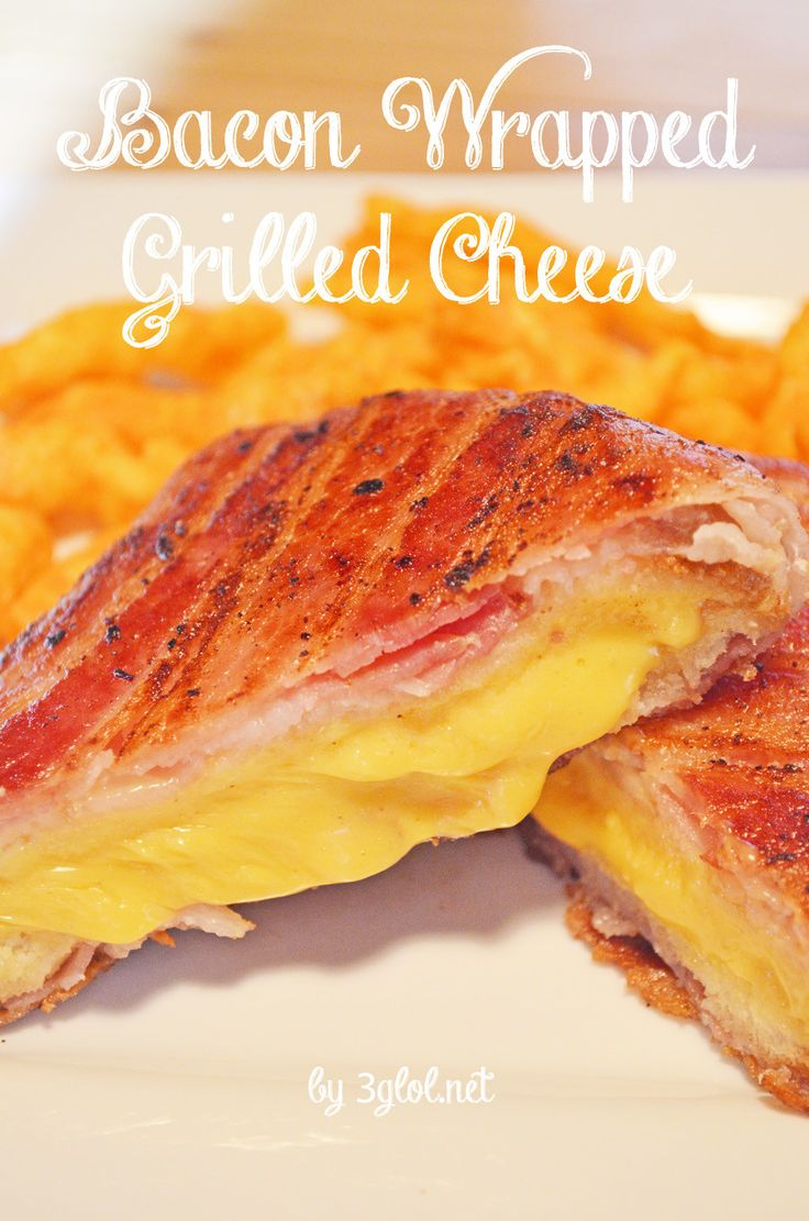 Bacon Wrapped Grilled Cheese.  BACON LOVERS!!  Take your grilled cheese up a notch by wrapping it in some awesome bacon. #bacon #grilledcheese #recipe