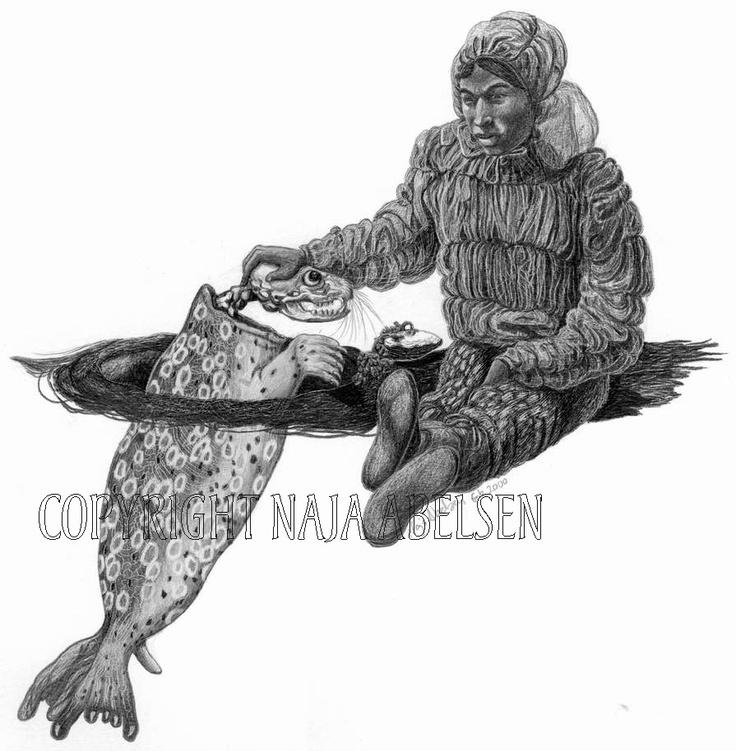 """A young man training to become a Shaman. Pencil drawing by Naja Abelsen. Original for sale. Illustration from """"Grønlandske Myter og sagn, Sesam publishing. 2000. GREENLAND MYTHOLOGY - www.123hjemmeside.dk/NajaAbelsen. Available as A3-photoprint 400 DKK / 54 Euro."""