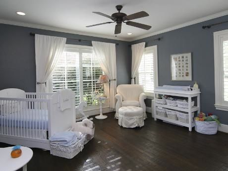 love the hard wood floors, cute for a more modern baby room