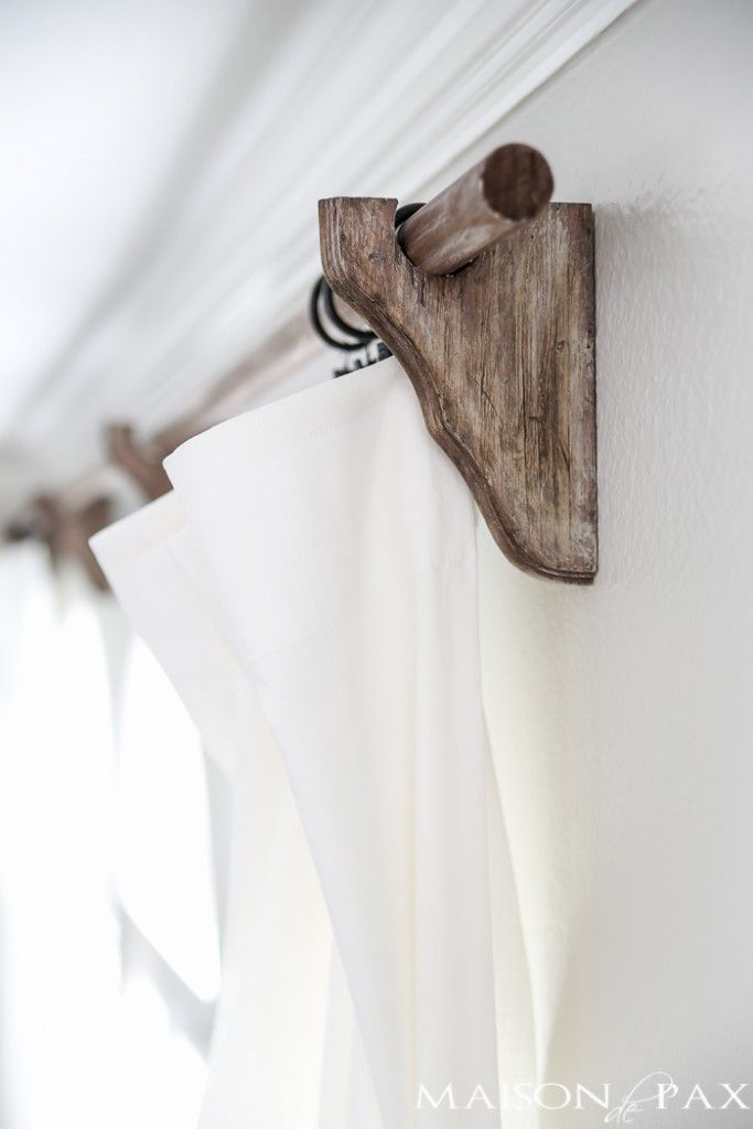 Looking for a Restoration Hardware look for a fraction of the price? Don't miss this step by step tutorial for real wood DIY curtain rods.