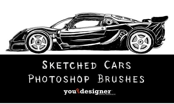 Sketched Cars Photoshop Brushes via YouTheDesigner #free #freebie