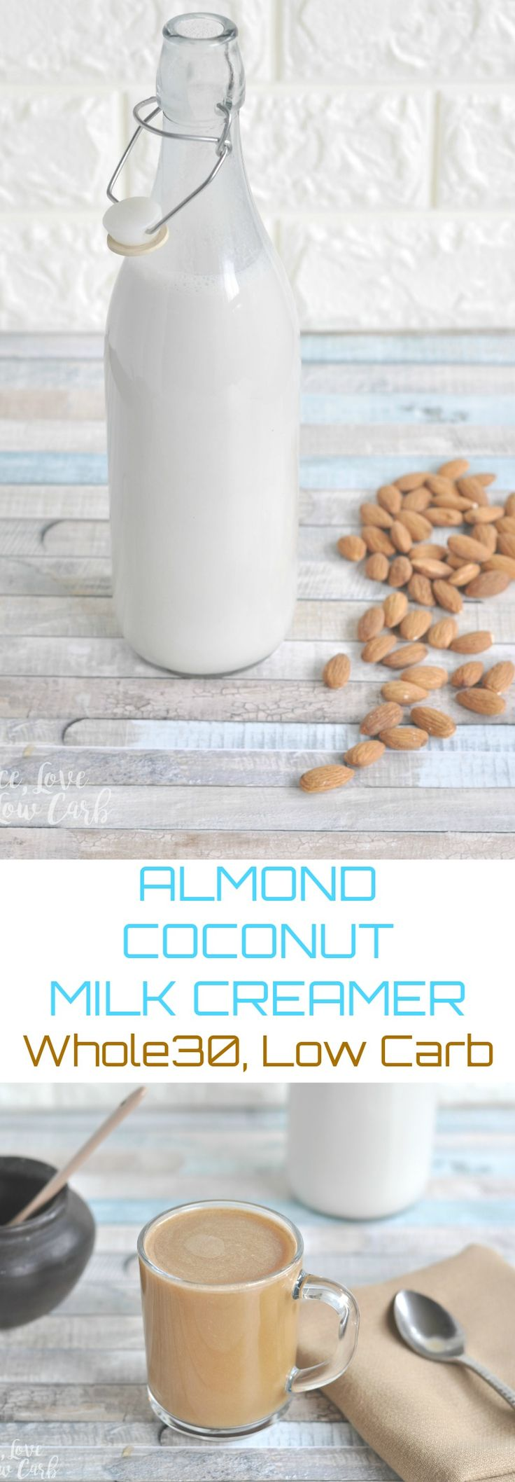 Low Carb Whole30 Almond Coconut Milk Creamer via @PeaceLoveLoCarb
