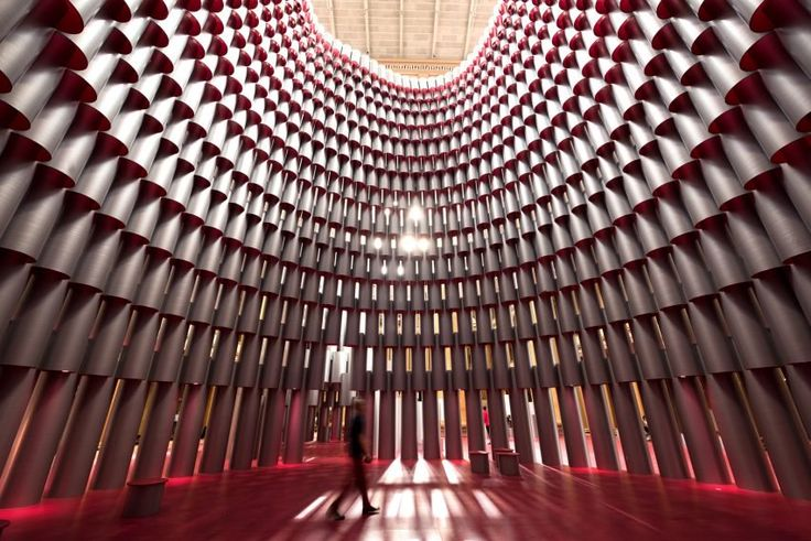 Studio Gang's stacked-tube Hive installation opens at Washington DC's National Building Museum