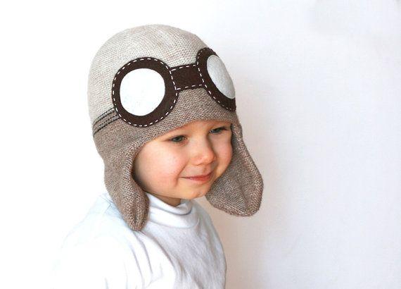 Kids aviator hat knitted in wool alpaca blend in by TreMelarance