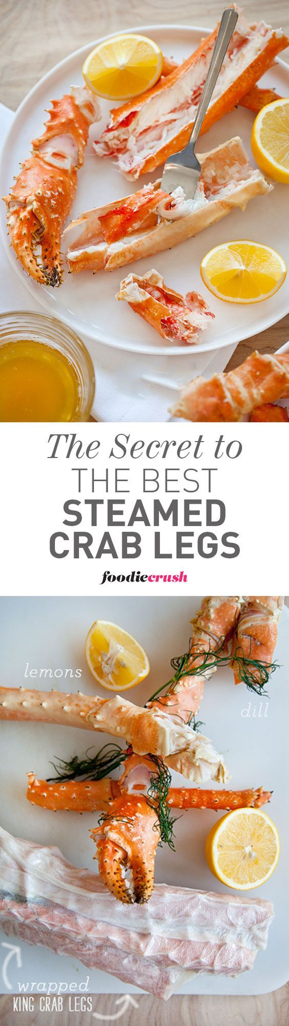 The secret trick to making the best steamed crab legs is your microwave!   foodiecrush.com #crab #seafood #recipe