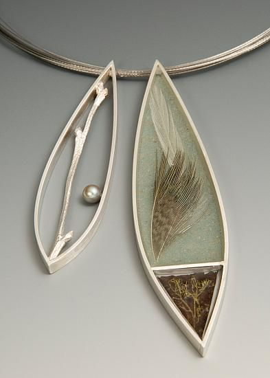 "Stacey M Krantz | ""New Love"".  Sterling silver, Akoya pearl, resin, sand, feathers, moss, rusted tin roof"
