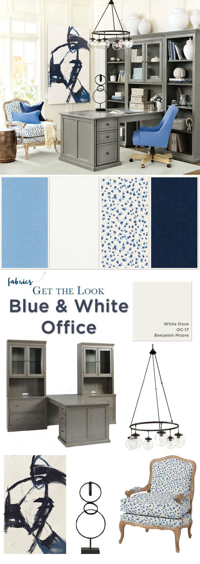 Get the Look: Blue & White Home Office | How To Decorate | Bloglovin'