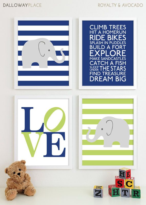 Art Prints Chevron Elephant Playroom Art Kids Boys Wall Art Room Decor