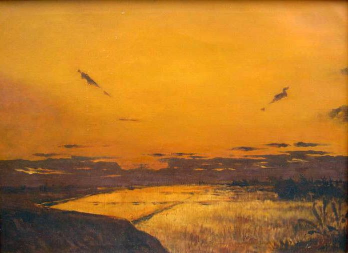 Willem Imandt, Sunset over a sawah