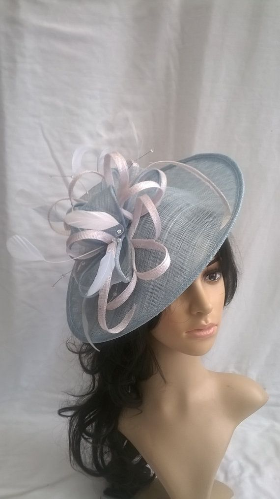 Ice Blue and white Fascinator with crystal stamens..Stunning Fascinator Hat on a Headband..