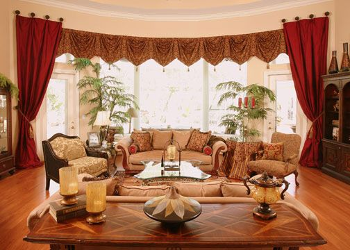 Window Treatment Ideas For Bay Windows In Living Room With Red Curtains Curtains Pinterest