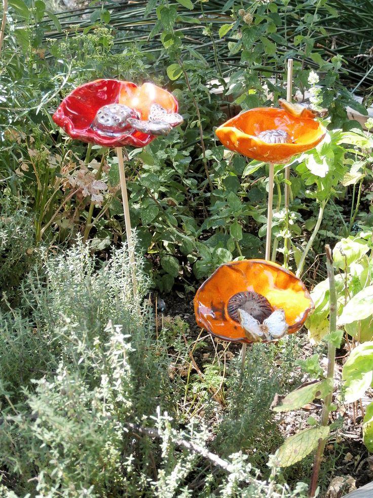 SUR COMMANDE 1 gros coquelicot 10cm - 1 décoration de jardin céramique fleur et…