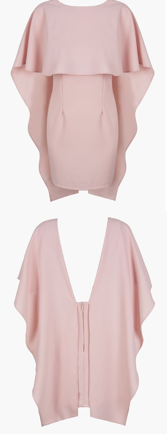 MYNYSTYLE | Pink Backless Bodycon Cape Dress