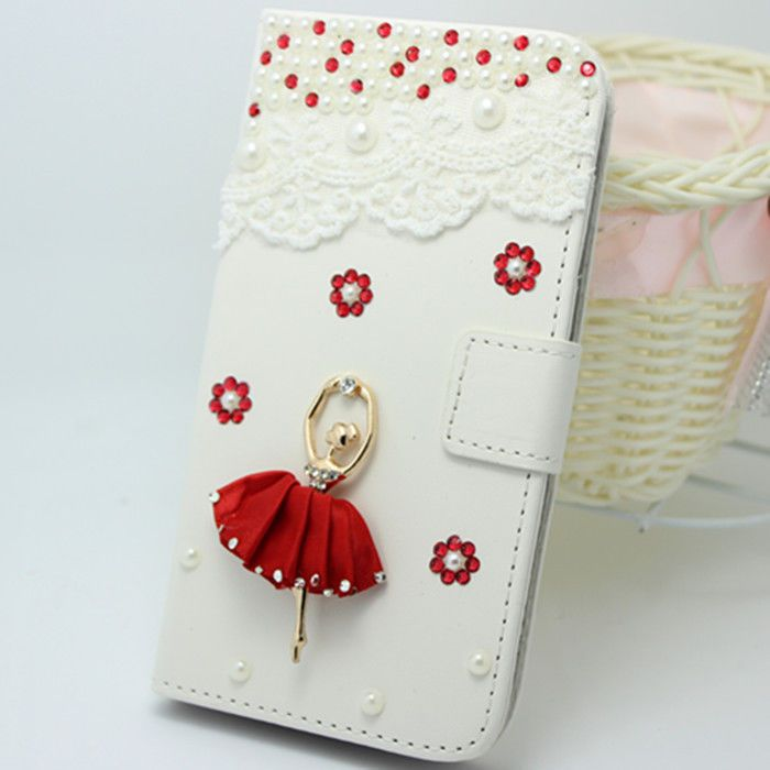 Pearls diamonds leather wallet flip case cover for Samsung Galaxy Young GT-S6310