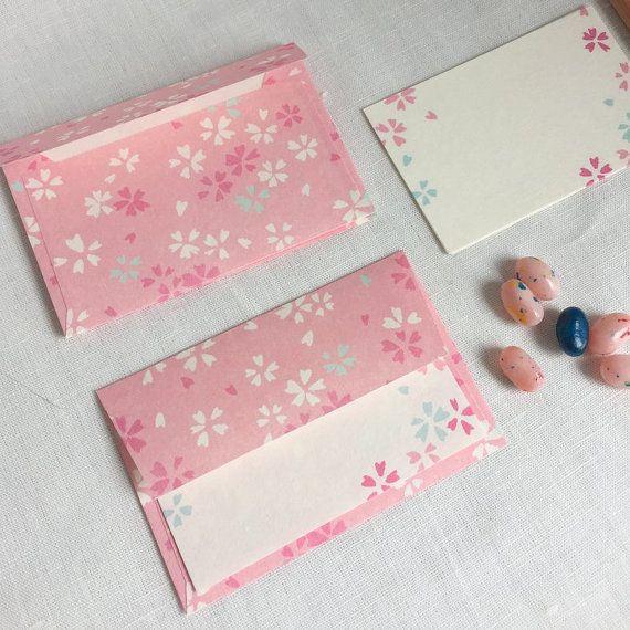 Set Small Size  letter writing set, note writing set, greeting card  Buste e Carta da lettere, Cherry Blossom Sakura