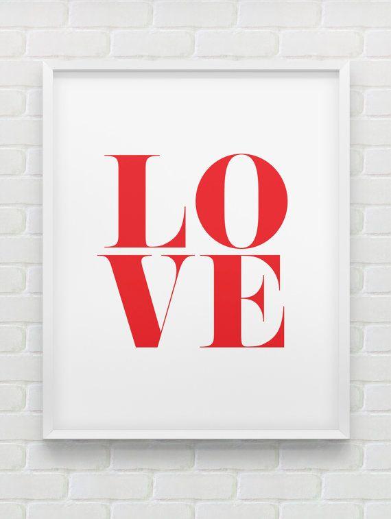 instant download red 'love' print // printable par spellandtell, £4.20