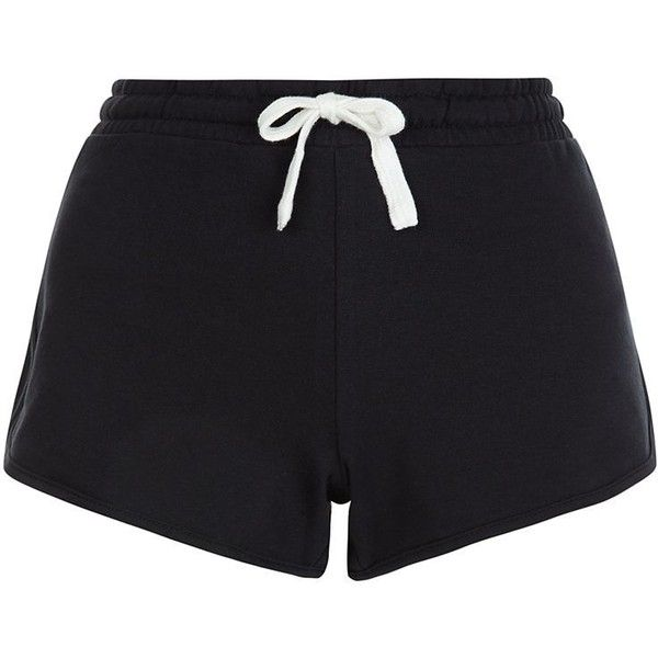 New Look Black Runner Shorts ($10) ❤ liked on Polyvore featuring shorts, bottoms, short, black, short shorts, cotton shorts, summer shorts, mini shorts and mini short shorts