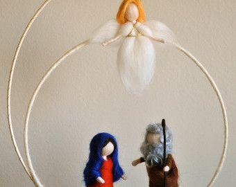 Weihnachten-Szene Waldorf inspirierte Puppen Nadel gefilzt: