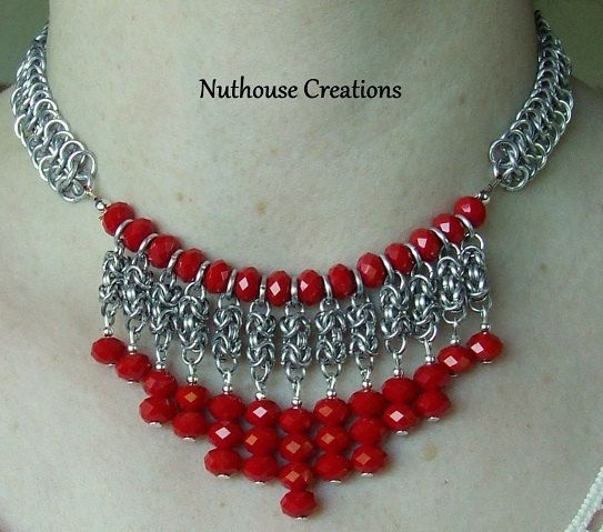 Chainmail and Beads Necklace by MyNuthouseCreations on Etsy, $35.00