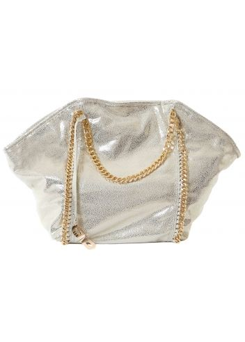 Silvian Heach Joey Bag Oversized Gold Tote Bag With Chain Detail & Handles