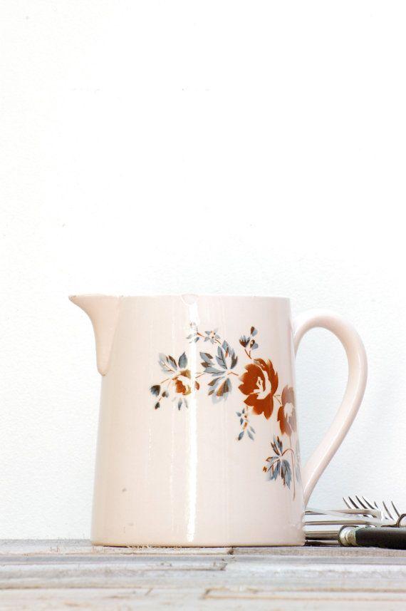 French vintage pink pitcher Digoin by Frenchvintagecharm on Etsy, €50.00