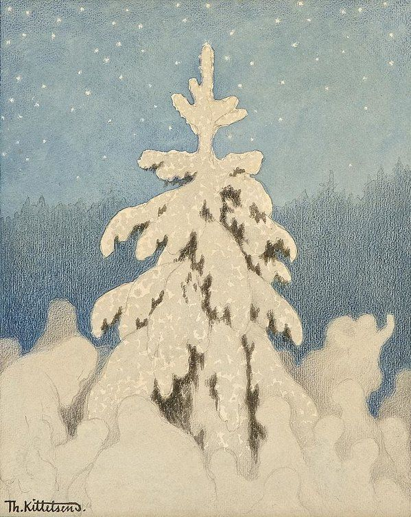 Kittelsen Art Print featuring the painting Kittelsen, Theodor 1857-1914 The Christmas Tree by Celestial Images