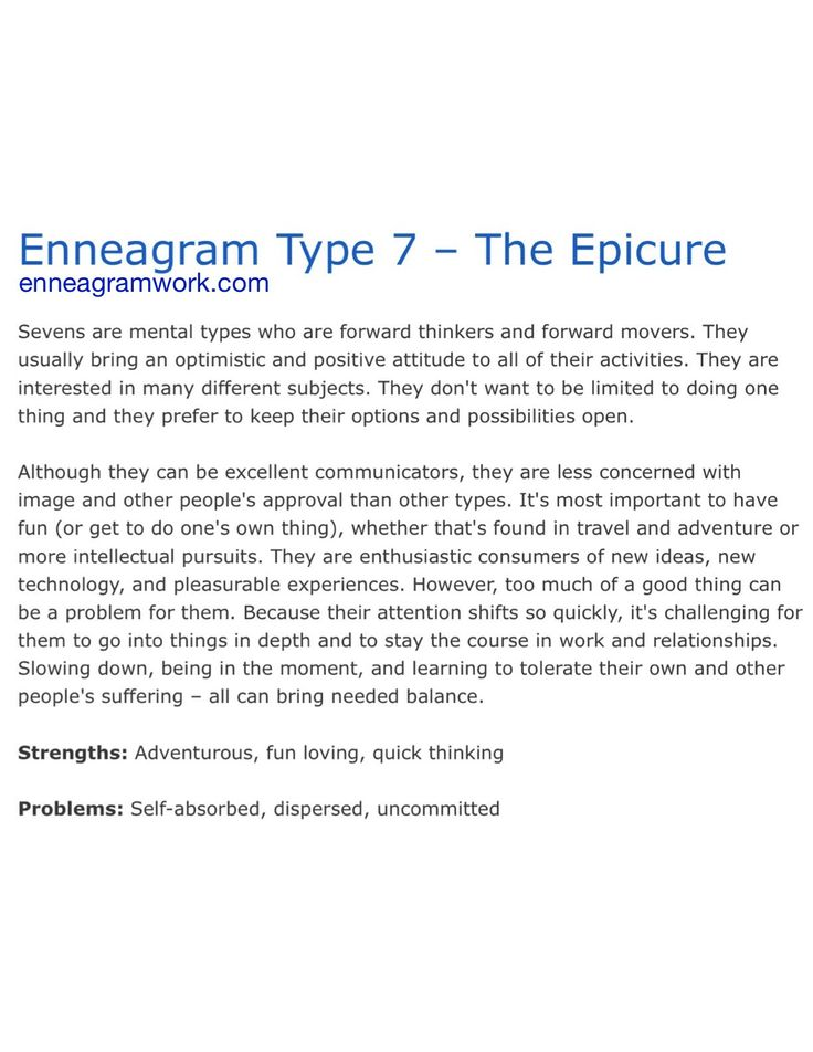 dating enneagram type 7 This is a discussion on romantic relationships with enneagram type 5 within the type 5 forum - the investigator forums, part of the head triad - types 5,6,7 category is there a step by step guide for dating enneagram type 5's could someone of you make one .