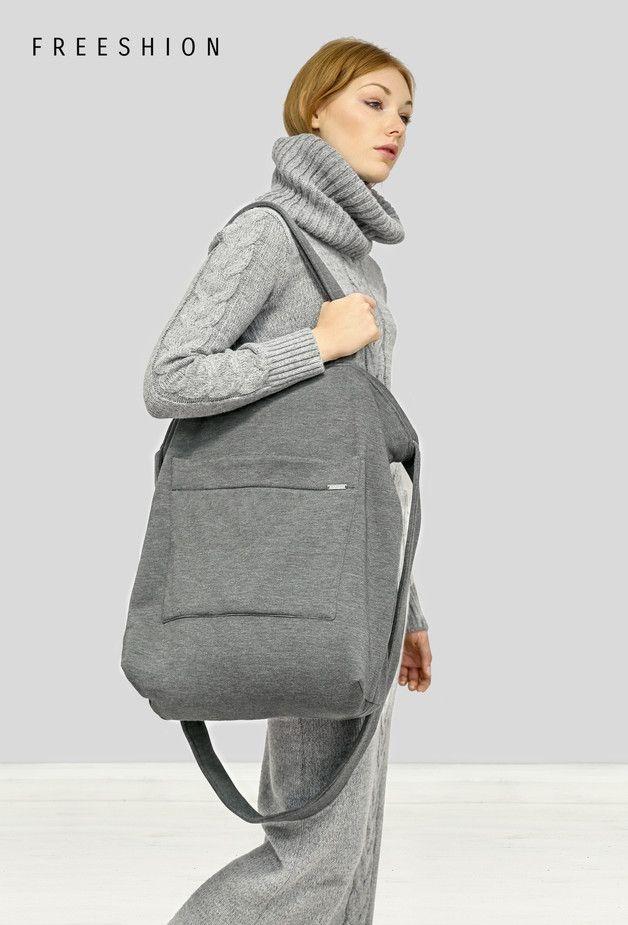 FreeBag - ciemno szara, dresowa torba oversize - Freeshion - Torby na ramię
