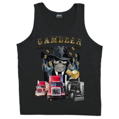 Gambler Mens Tank Top $A39.95 Sizes: S -3XL Printed front and back http://www.wildsteel.com.au/gambler-tank/