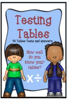 This bundle includes *Flash Cards:  Times Tables 1 - 12 (multiplication and division)*Answer cards to match flash cards*Different ways and ideas on how to use the flashcards in the classroom *40 Tables Tests