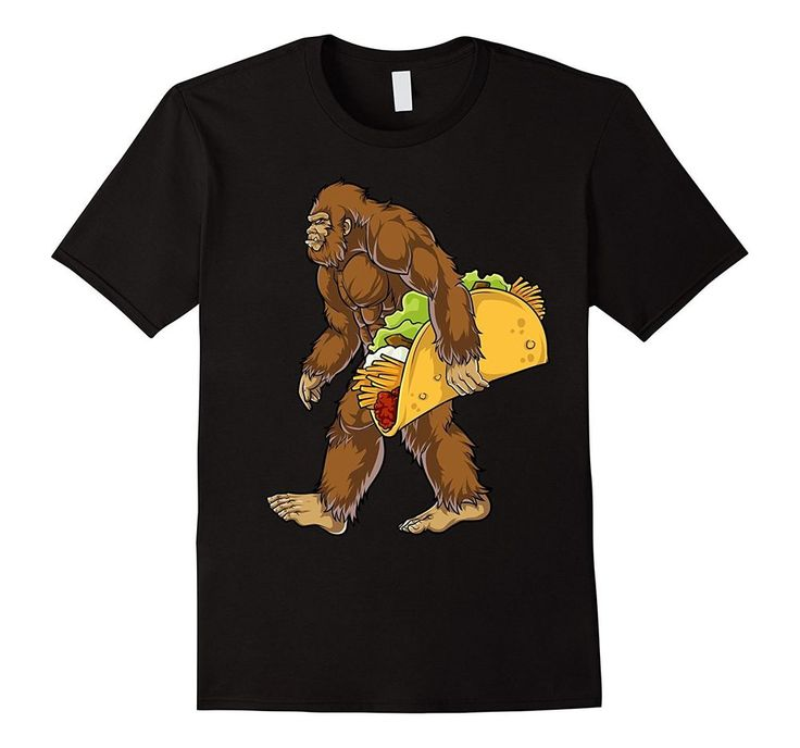 Mens Bigfoot Sasquatch Carrying Taco T shirt Funny Camping Gifts Large Black    eBay