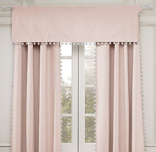 Pom pom linen cotton valance valances restoration for Restoration hardware window shades