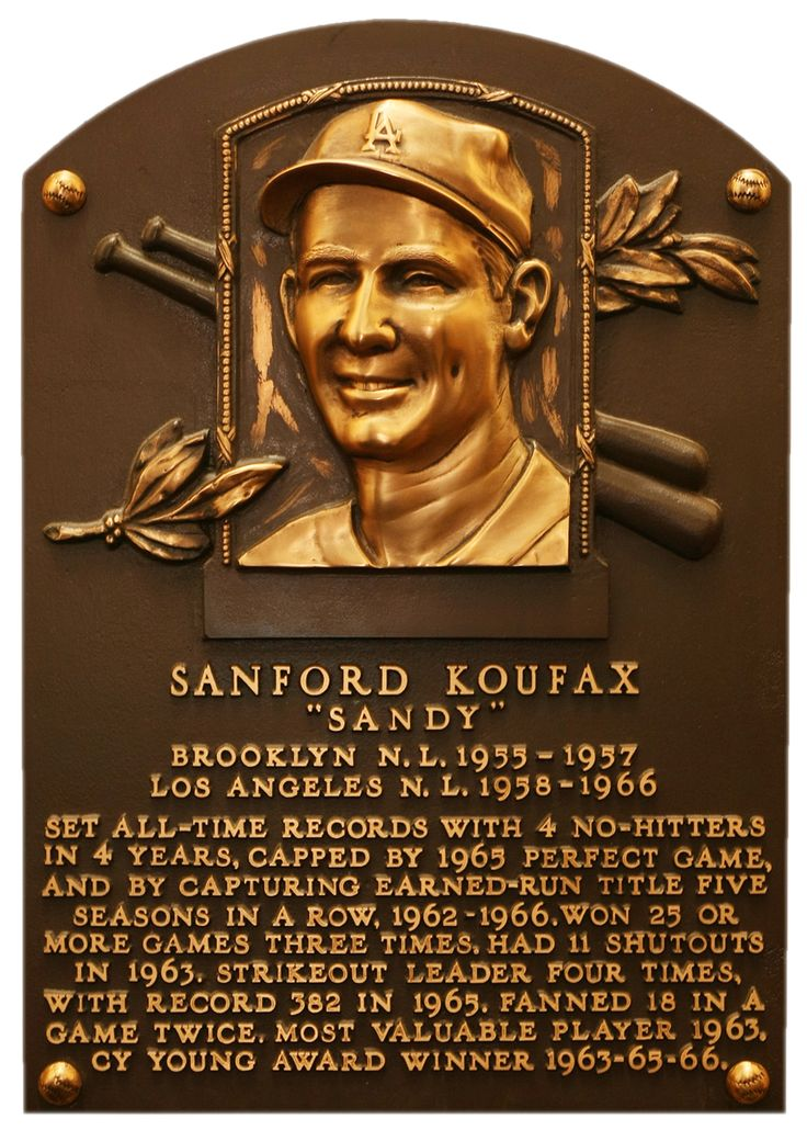 SANDY KOUFAX | Inducted to the Hall of Fame in: 1972 | Primary team: Los Angeles Dodgers | Primary position: Pitcher