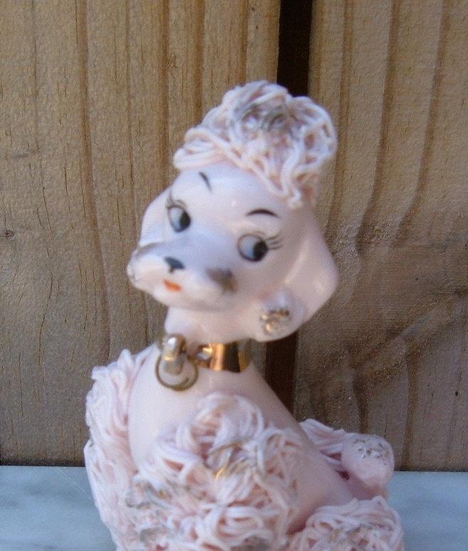 Vintage Pink Poodle Figurine, Vintage Spaghetti Ceramics Pink & Gold Poodle