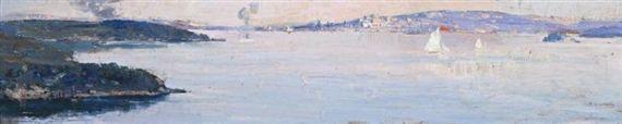 Artwork by Arthur Streeton, Sirius Athol and Rose Bay, Made of Oil on wood panel