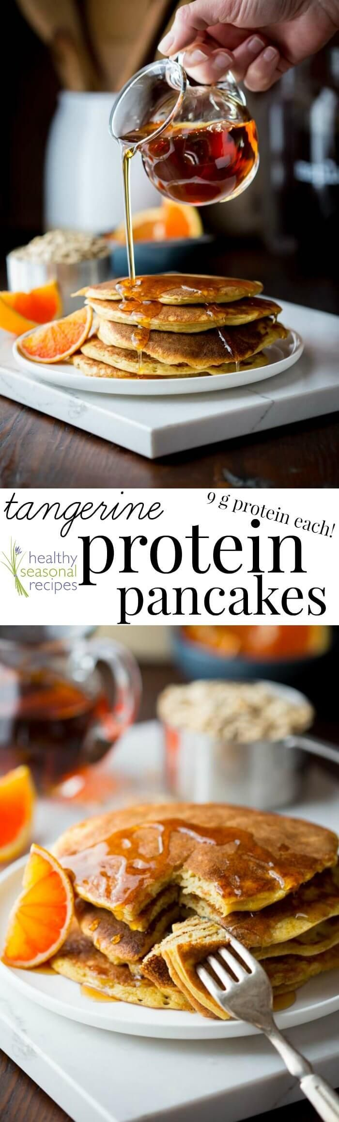 Gluten-free Tangerine Protein Pancakes. 9 grams of protein per pancake. Made with regular grocery store ingredients (like eggs and oats.) And they're super simple to make in a blender! On Healthy Seasonal Recipes by Katie Webster.