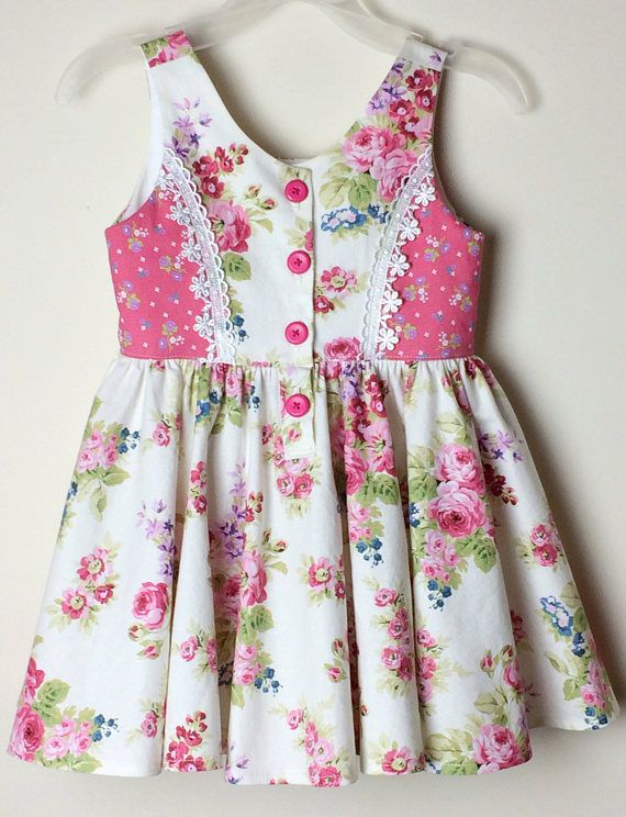 Floral Dress for Girls size 3 pink/white roses