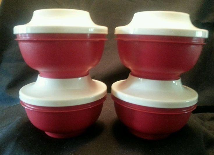 4 New TUPPERWARE ORIENTAL RICE BOWLS - PLATE/ LIDS Red & Cream Sherbet Ice Cream #Tupperware