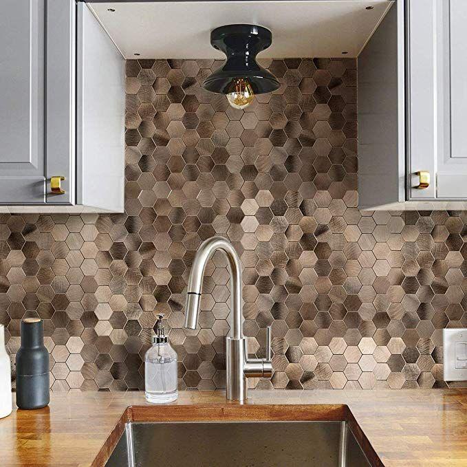 Amazon Com Decopus Peel And Stick Tile Backsplash Honeycomb Goldish Copper Stick On Metal Wal Metallic Wall Tiles Stick Tile Backsplash Metallic Backsplash
