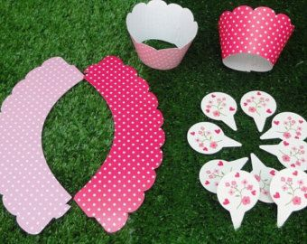 12pcs wraps+12 toppers--pink and rose dots--cupcake wrappers&toppers picks decoration kids birthday party favors supplies,cupcake decoration